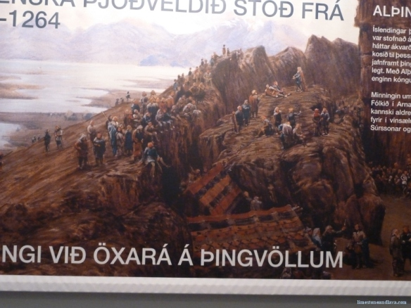 A photo of a painting I saw in the Culture House of a Viking Parliament meeting at Þingvellir